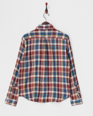 NAVY  クレープマドラスチェックシャツ見る
