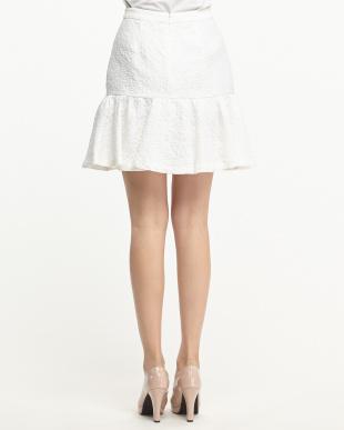ホワイト 膨れジャガード ラッフルスカート見る