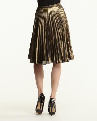GOLD METALLIC PLEAT MIDI スカート見る
