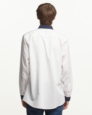 WHITE バイカラー 切り替えシャツ見る