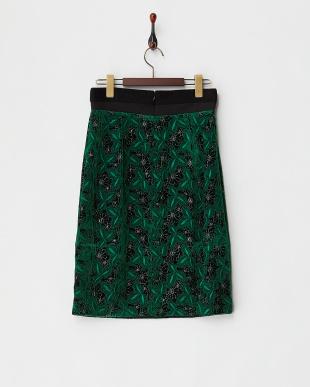 ダークグリーン シルク混ベルベット花柄タイトスカート見る
