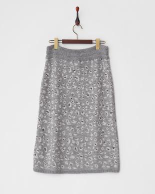 ライトグレー  レオパード柄ニットスカート見る