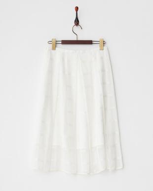 ホワイト  格子柄タック入りスカート見る