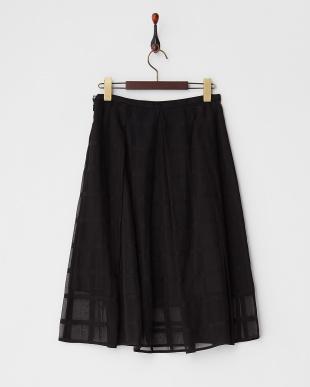 ブラック  格子柄タック入りスカート見る