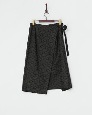 ブラック  刺繍デザインラップスカート風パンツ見る