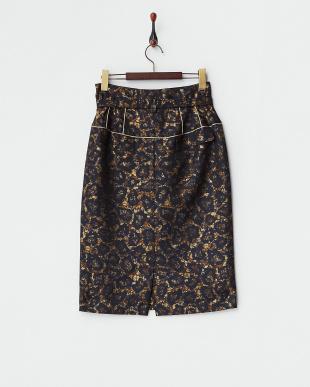 ゴールド  ベルト付き フラワー風レオパード柄スカート見る