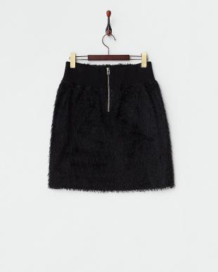 ブラック ウエストリブカットヤーンジャガードスカート見る