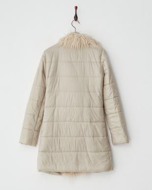 ベージュ カーリーフェイクファートリミング中綿コート見る