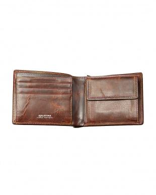 ブラウン レインボーステッチ二つ折り財布見る