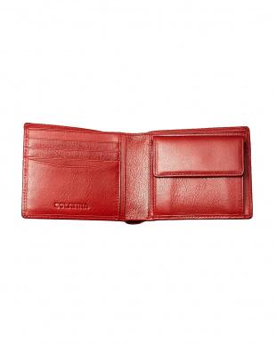 レッド  バンダナ柄二つ折り財布見る