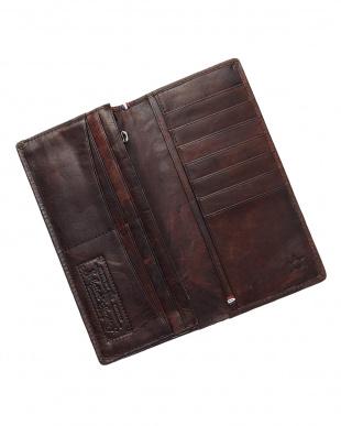 ブラウン  ホースレザーメッシュ長財布見る