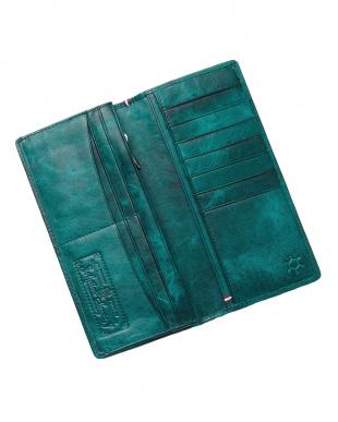 グリーン  ホースレザーメッシュ長財布見る