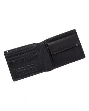 ブラック  ホースレザーメッシュ二つ折り財布見る