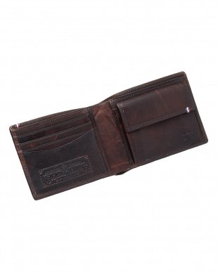 ブラウン  ホースレザーメッシュ二つ折り財布見る