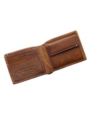 キャメル  ホースレザーメッシュ二つ折り財布見る