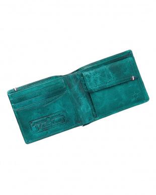 グリーン  ホースレザーメッシュ二つ折り財布見る