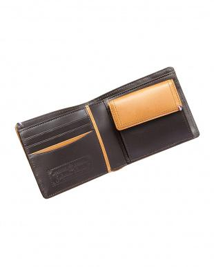 オレンジ  ブッテーロメッシュ 二つ折り財布見る