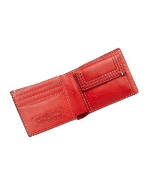 レッド  ミネルバボックス二つ折り財布見る