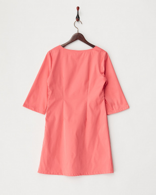 ピンク  七分袖 ソリッドカラーワンピース見る