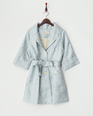 ブルー  ラメジャガード 7分袖コート見る