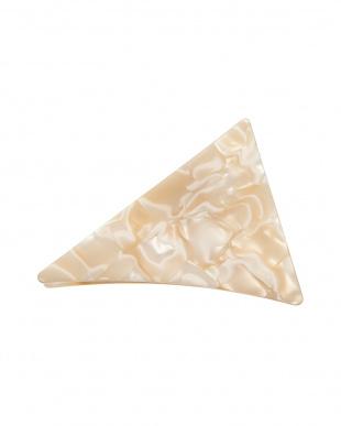 ホワイト系  三角ヘアクリップ 大見る
