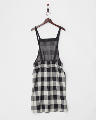 ブラック  チェックサロペットスカート見る