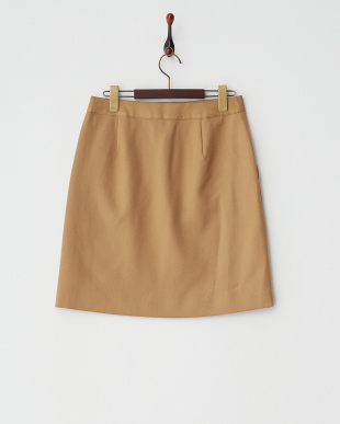キャメル フラノストレッチ台形スカート見る