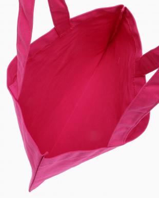 ショッキングピンク  ロゴ入りトートバッグ小見る