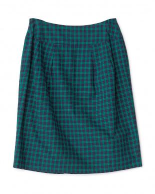 グリーン  コットンチェック柄タイトスカート見る