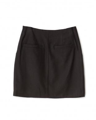 ブラック ウールレーヨンフロントボタン台形スカート見る
