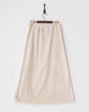 アイボリー  パイルフリースロングスカート見る