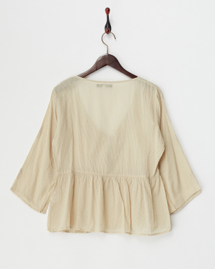 BEIGE MID  DYED EMBROIDERY COTTON FLARE SLEEVE GATHERED BLOUSE見る