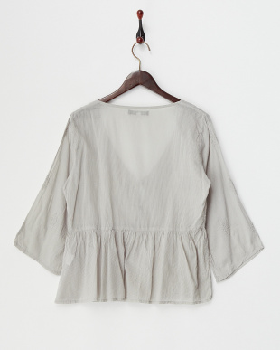 GREY LT  DYED EMBROIDERY COTTON FLARE SLEEVE GATHERED BLOUSE見る