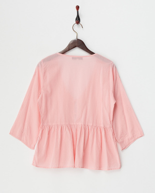 PINK MID  DYED EMBROIDERY COTTON FLARE SLEEVE GATHERED BLOUSE見る