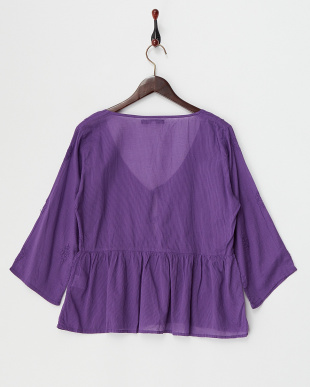 PURPLE MID  DYED EMBROIDERY COTTON FLARE SLEEVE GATHERED BLOUSE見る