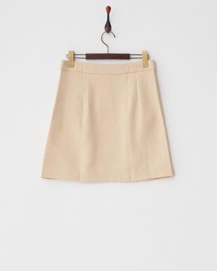 ベージュ  ポケット付き台形スカート見る