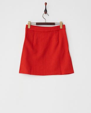 レッド  ポケット付き台形スカート見る