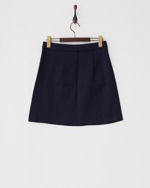 ネイビー  ポケット付き台形スカート見る