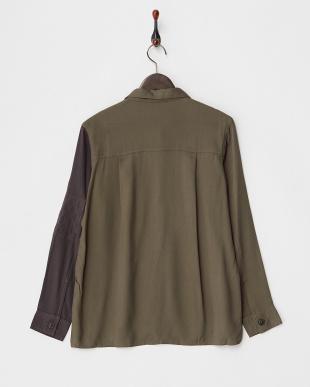 GREEN MID レーヨンバイカラー切り替えシャツ見る