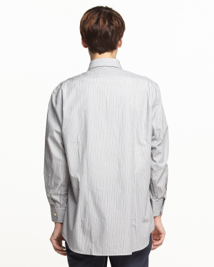 グレーストライプ ワイドカラーワイシャツ見る