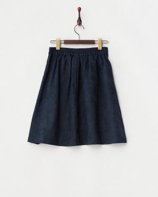 NAVY  スエード調リボンスカート見る