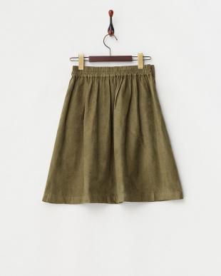 KHAKI  スエード調リボンスカート見る