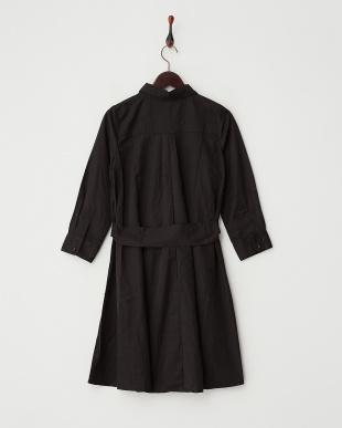 BLACK  5分袖リボンベルトシャツワンピース見る
