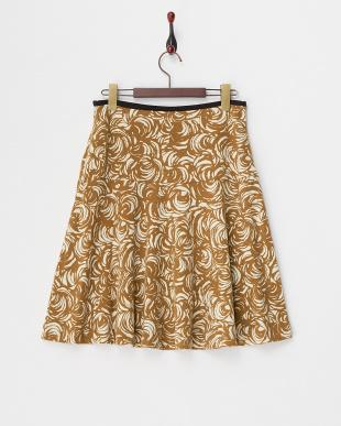 キャメル  ツートーンフラワープリントスカート見る