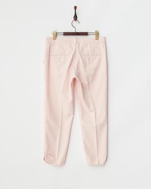 ピンク  キャンバスストレッチ 裾タックパンツ見る