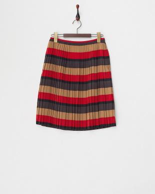 レッド  ボーダープリーツスカート見る