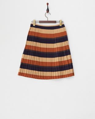 ベージュ  ボーダープリーツスカート見る