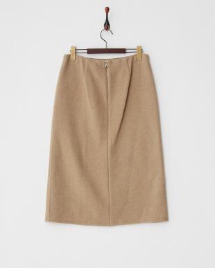 ベージュ スリット入りウールタイトスカート見る