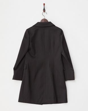ブラック シルク混ウール テーラーカラーコート見る