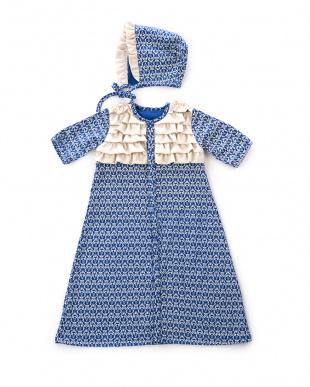 ブルー  ボンネット付きゴシック柄ドレス見る
